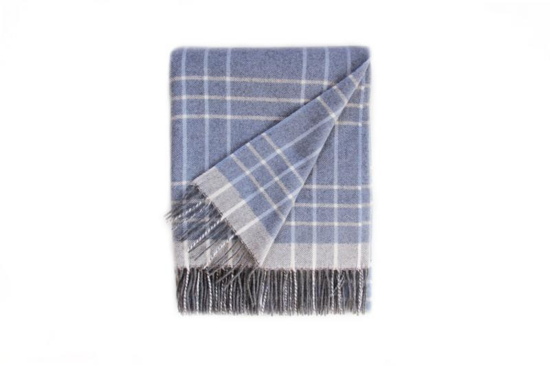 Blue and Grey Cashmere Wool Blanket