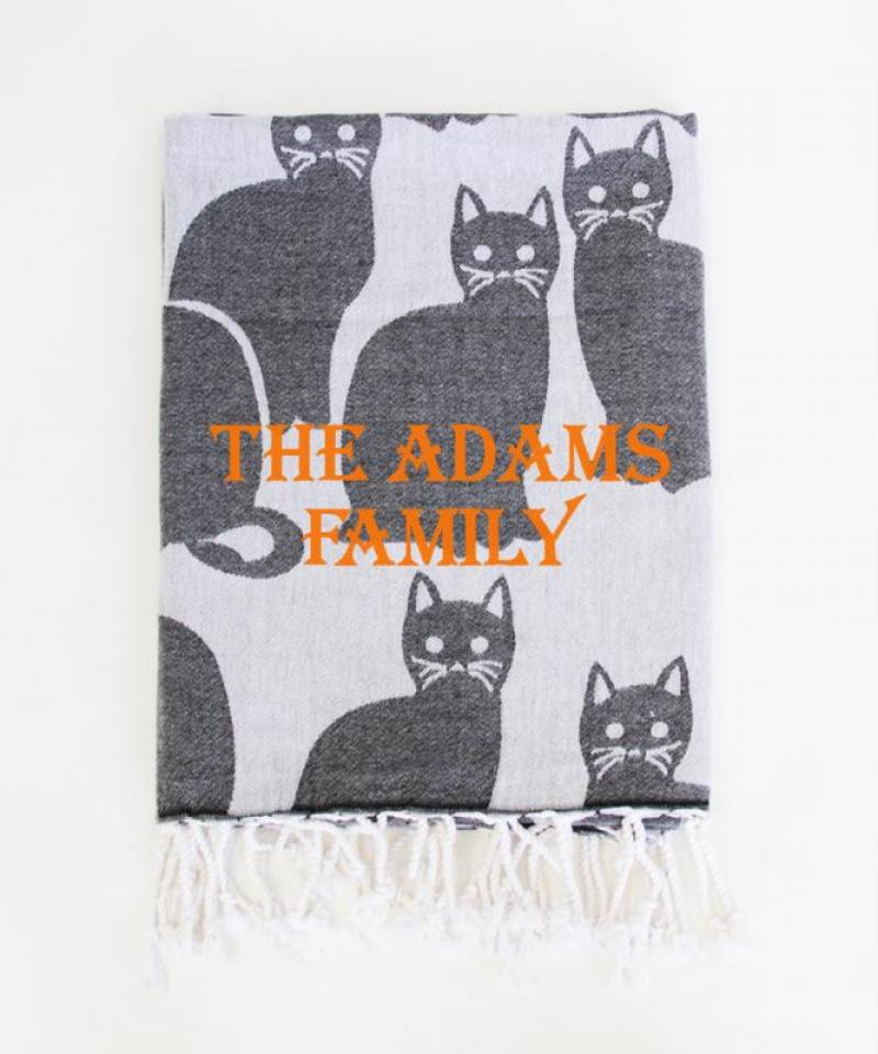 Halloween Cat Print Throw