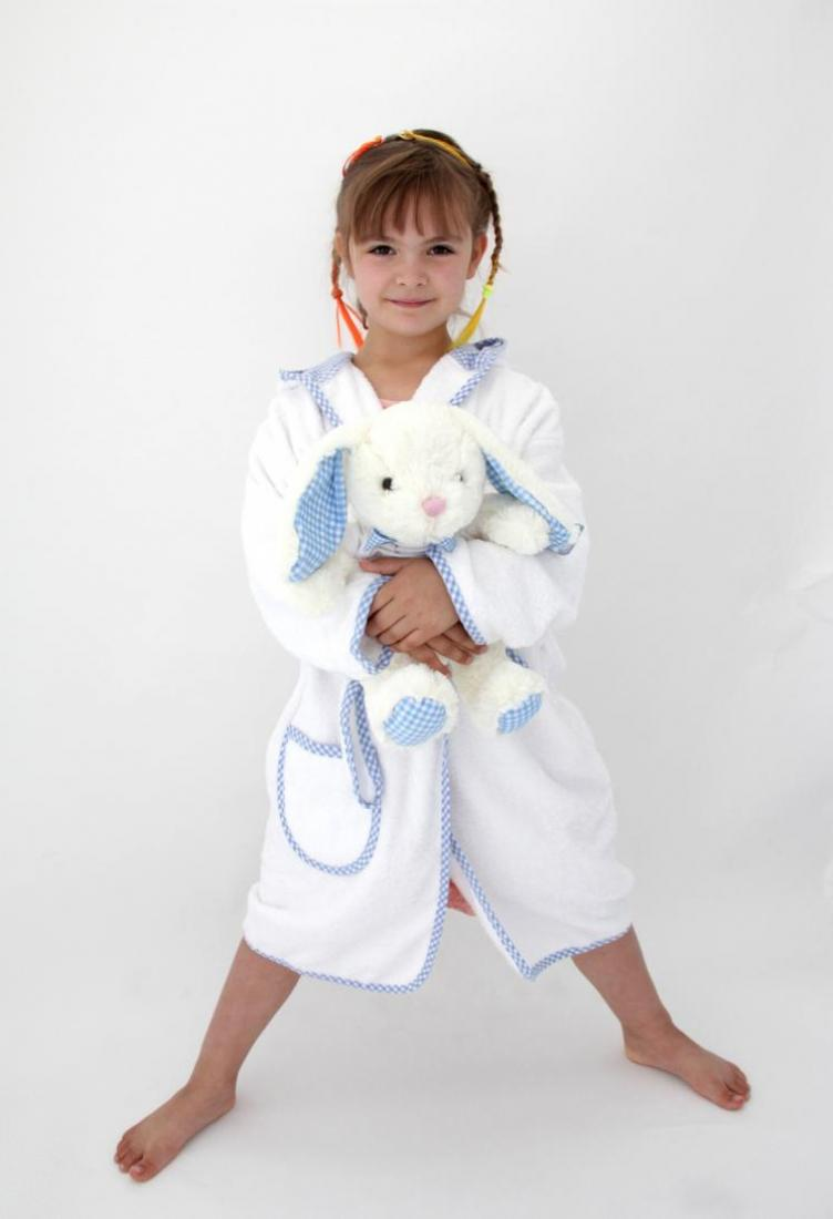 Personalised Boys Dressing Gown Gingham Blue Withcongratulations