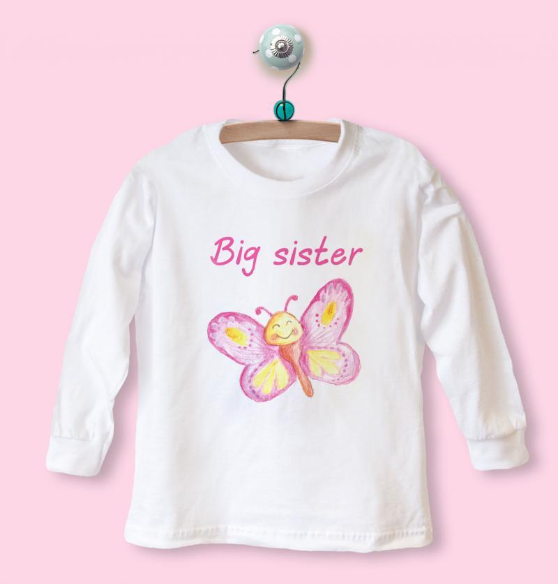 big sister t-shirt with butterfly