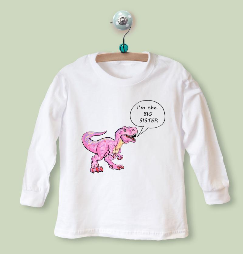 big sister shirt dinosaurus