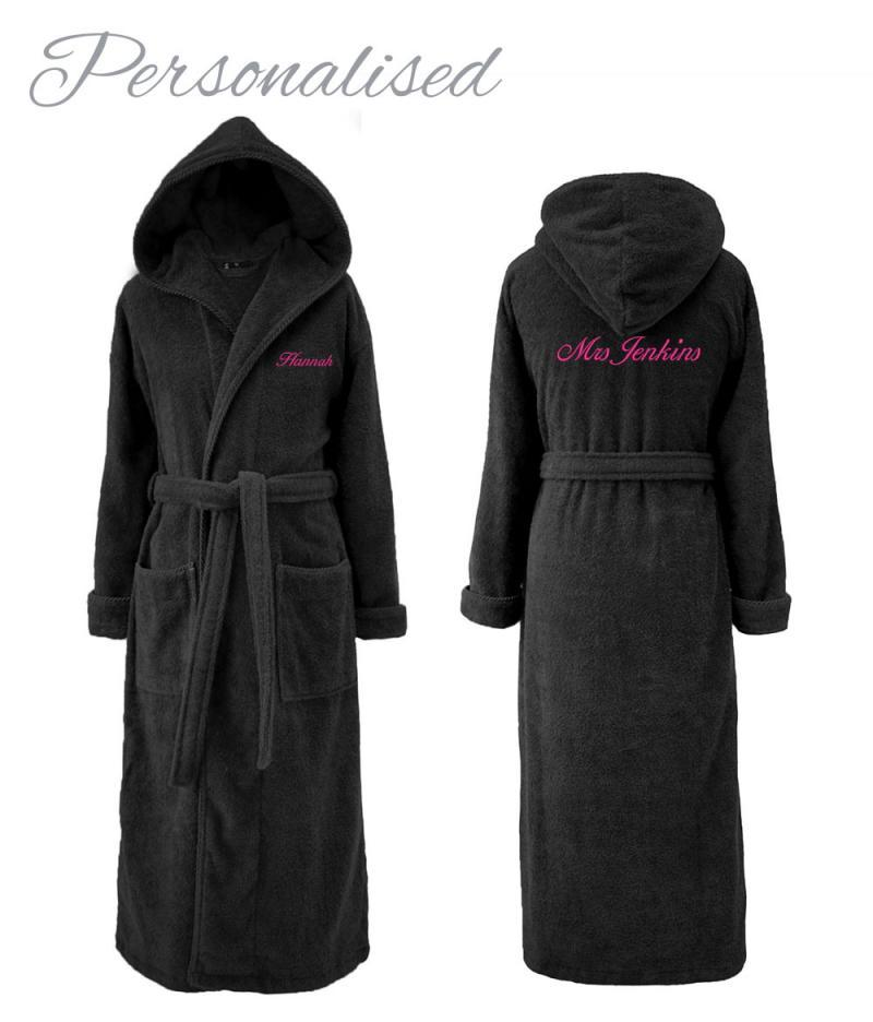 Personalised Hooded Dressing Gown - Black for Her | WithCongratulations