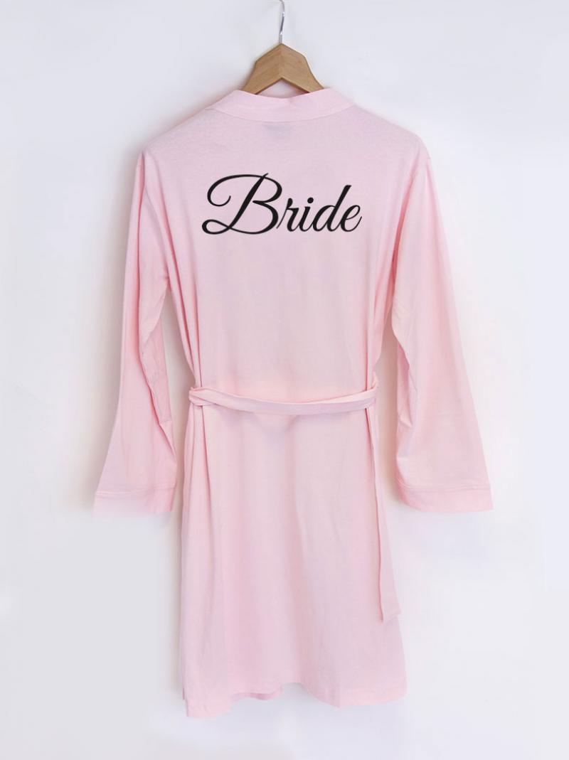 1d3a87d97 Personalised Bride Pink Jersey Dressing Gown | WithCongratulations