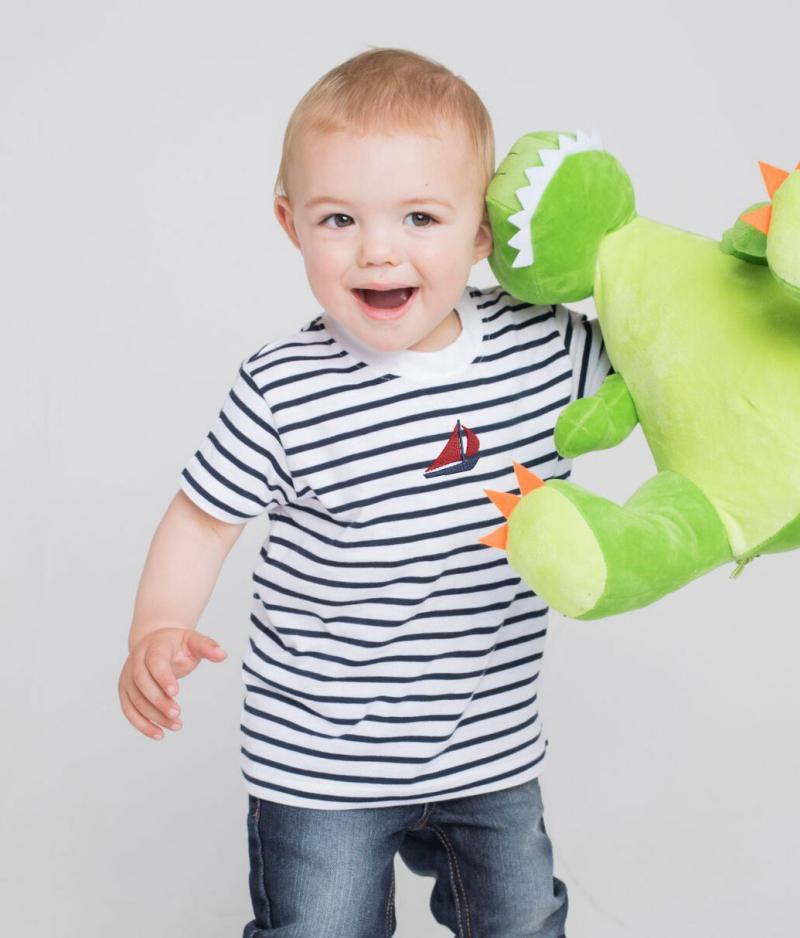 Kids Striped T-shirt with Embroidered Boat