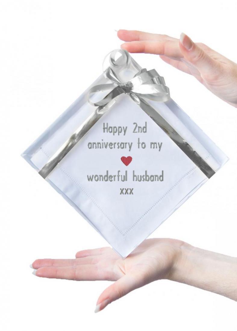 Cotton 2nd Anniversary Gift, Hemstitch Handkerchief for Husband