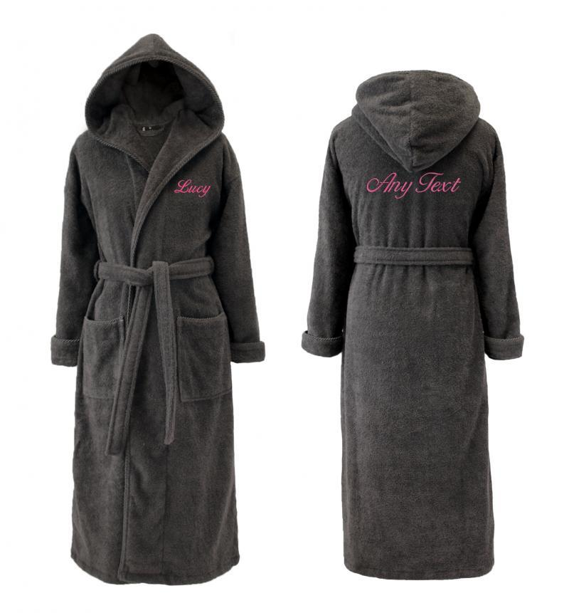Luxury Dressing Gowns Personalised Hooded Charcoal For Her