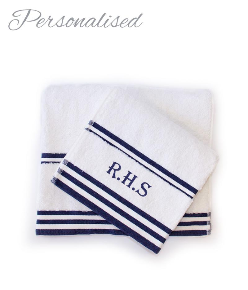 Personalised Navy Hand and Bath Towel