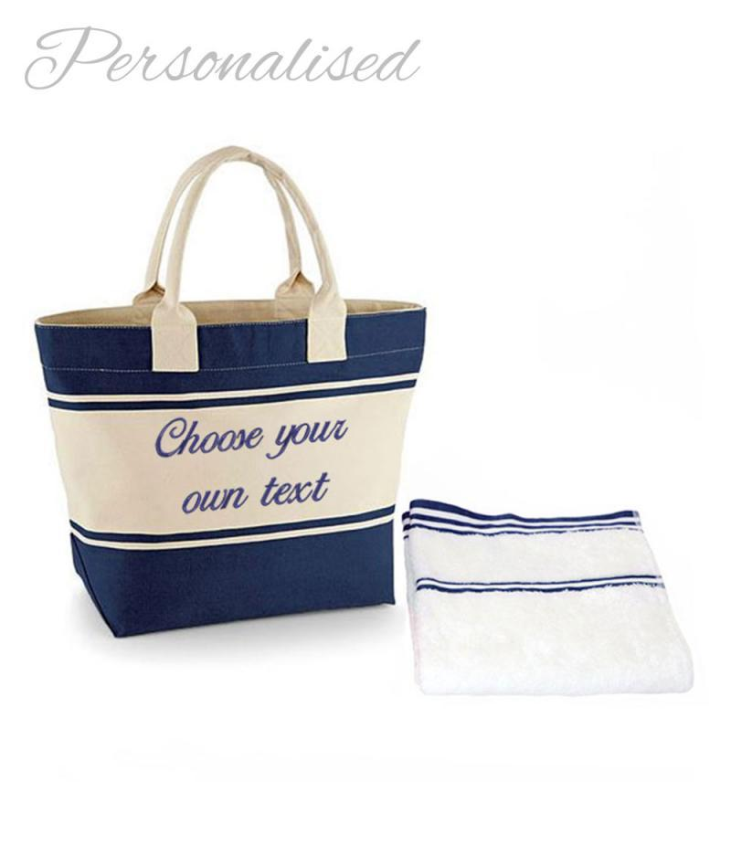 Monogrammed Beach Towel And Bag Set: Personalised Embroidered Navy Bag & Towel Set