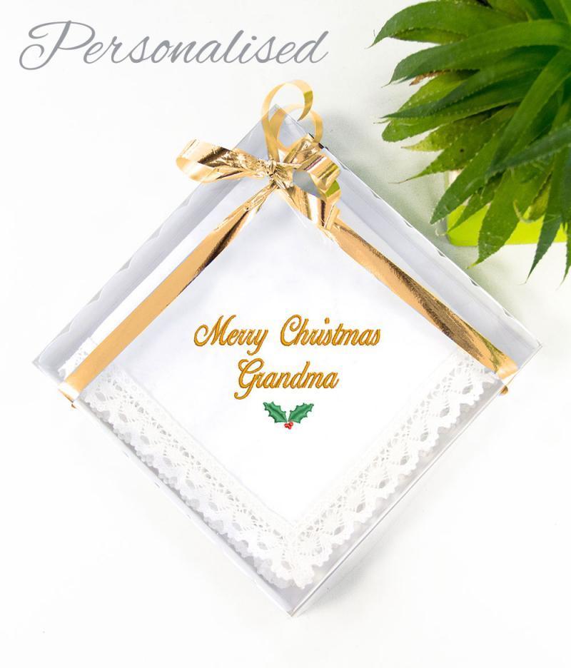 personalised christmas handkerchief