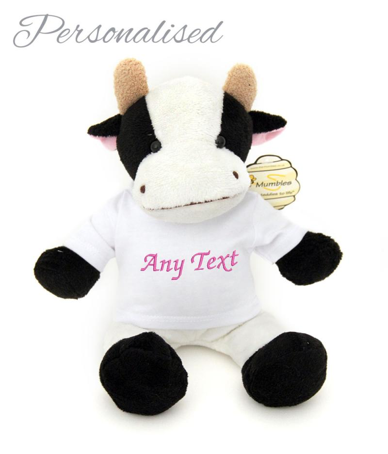 personalised baby teddy bear farm cow with t-shirt