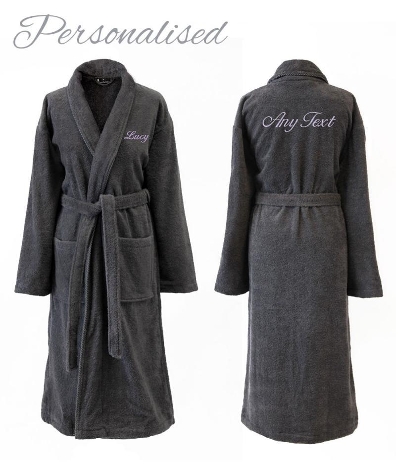 personalised towelling dressing gown grey