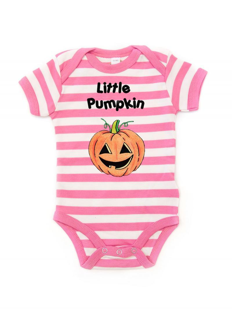 Pink Striped Little Pumpkin Babygrow
