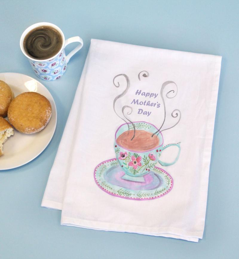 Printed Vintage Tea cup Cotton Tea Towel