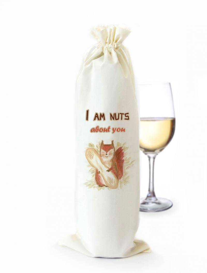 Funny Cotton Wine Bottle Gift Bag Nuts About You