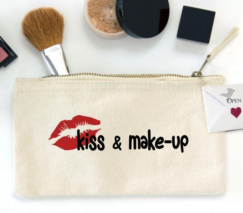 Kiss and Make-up, Zipper Canvas Pouch Bag