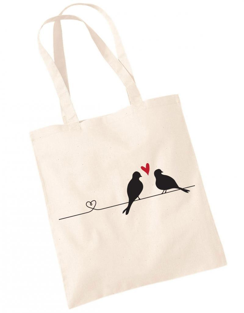 Love Birds Printed Cotton Tote Bag