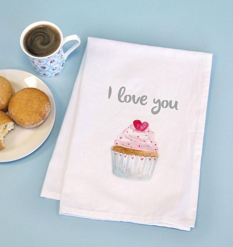 Printed Cotton Tea Towel with CUPCAKE