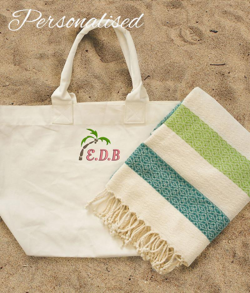 Personalised embroidered palm tree initial beach bag