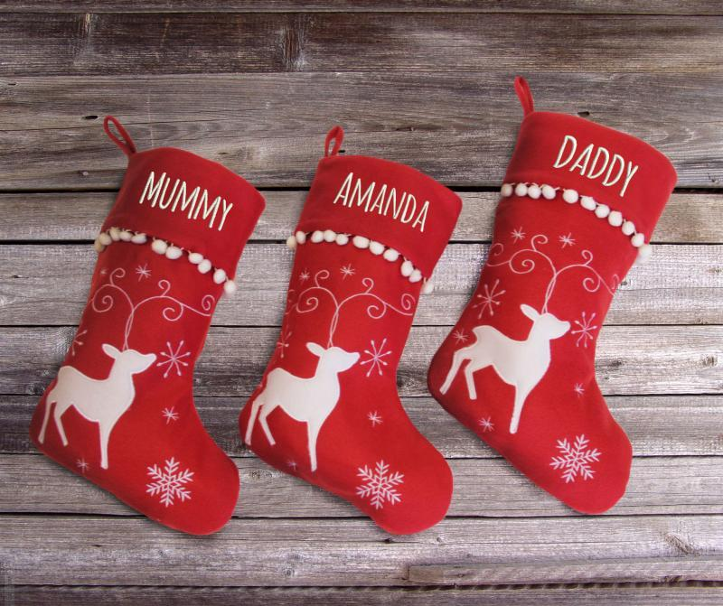 Personalised Christmas Stocking with Reindeer Design