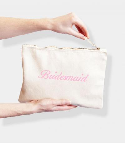 Personalised Wedding Canvas Makeup Clutch Bag