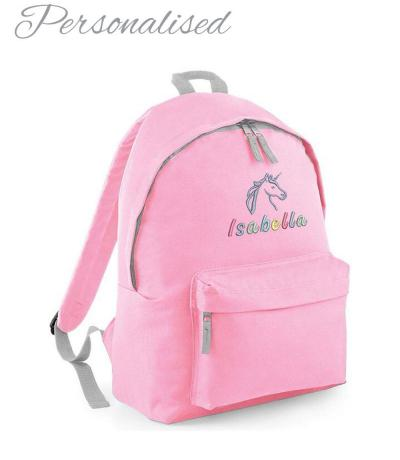 Personalised Rainbow Unicorn Girls Light Pink School Rucksack