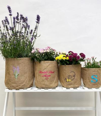 Lavender Hessian Pot