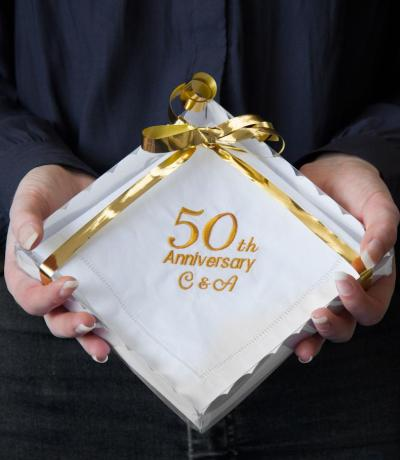 50th Golden Wedding Anniversary Handkerchief