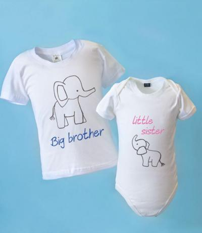 big brother little brother matching outfits with elephant