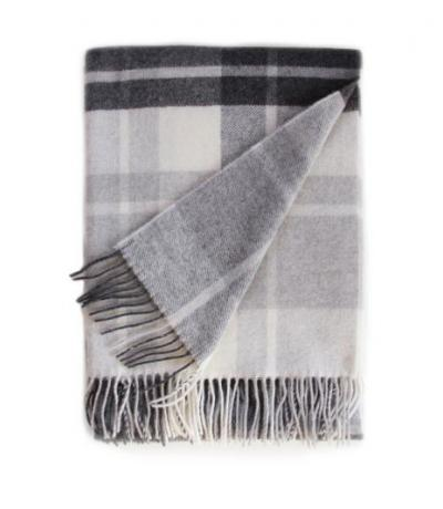 Light Grey and Black Cashmere Blanket