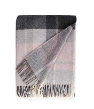 Light Pink and Grey Cashmere Blanket