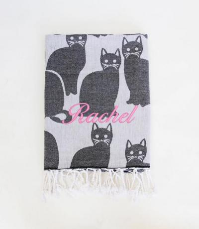 Witchy Cat Print Throw