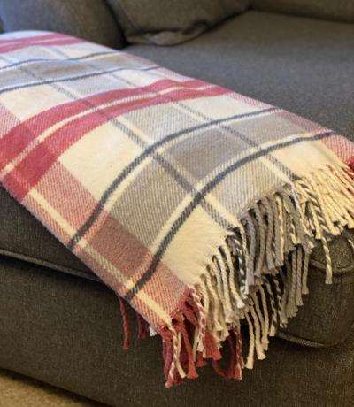 Pink & Grey Check Picnic Blanket