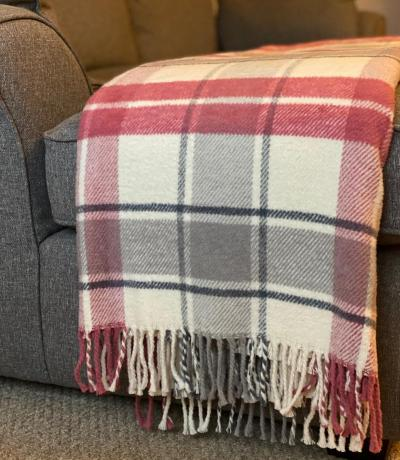 Pink & Grey Check Blanket