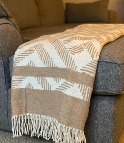Beige & Cream Chevron Blanket