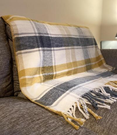 Yellow Grey Check Blanket