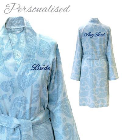 Personalised Bridesmaids Kimono bathrobes, dressing gowns blue