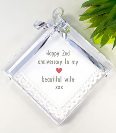 Cotton 2nd Anniversary Gift, Lace Handkerchief for Wife