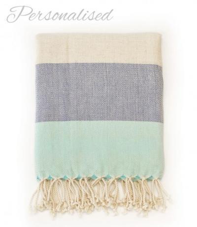 Personalised Aqua Beach Towel, Bamboo Cotton