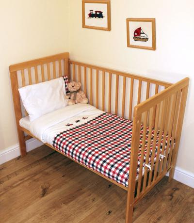 Embroidered Baby Sheets, Bedding, Red & Navy Gingham with Boat, Plane and Train Design