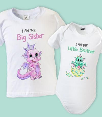 big sister little brother matching tshirts with dragons