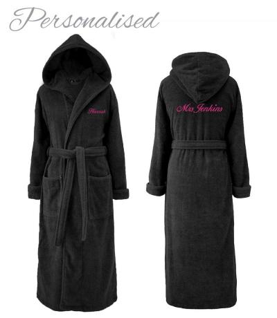 personalised black ladies dressing gown bathrobe