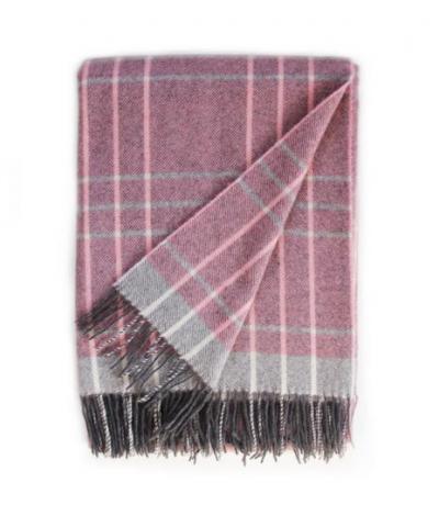 Dark Pink and Grey Cashmere Blanket