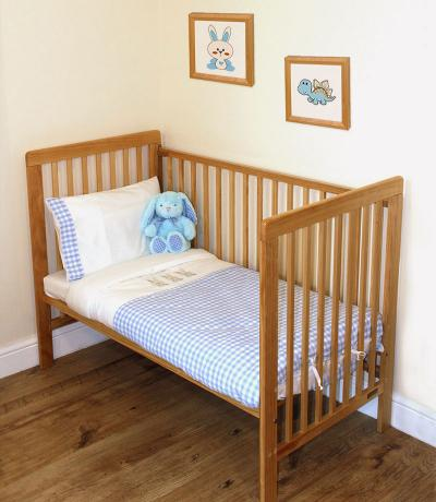 Embroidered Baby Sheets, Bedding, Gingham Blue