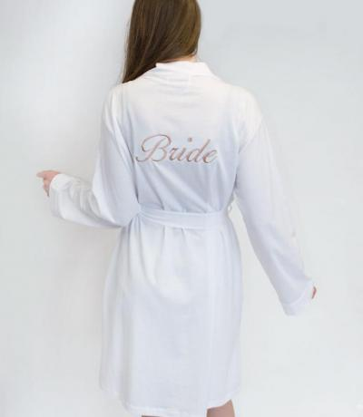 White Bride Dressing Gown with Rose Gold Embroidery