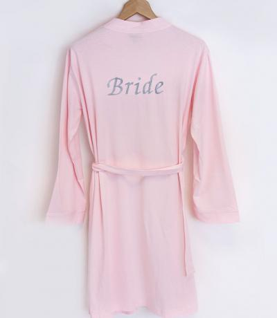 pink bride dressing gown