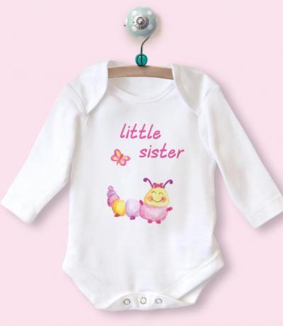 Little Sister Long Sleeve Babygrow Top