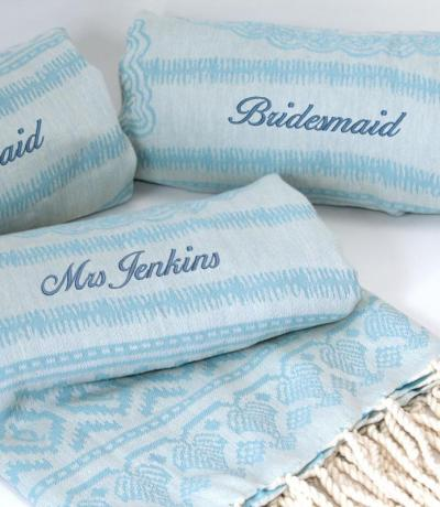 personalised beach towels blue