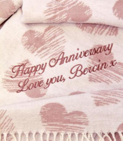 2nd anniversary cotton gift, personalised blanket
