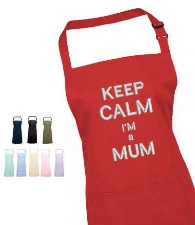 'Keep Calm I'm a Mum' Embroidered Apron