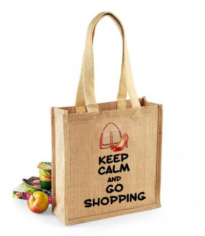 'Keep Calm and Go Shopping' Medium Jute Bag